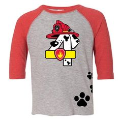 Age Memory Paw Patrol Marshall Birthday Custom Raglan Toddler Shirt with Name on Back