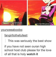 Ouran High School Host Club, it's true, everyone should see this show, it is just sooooo good.