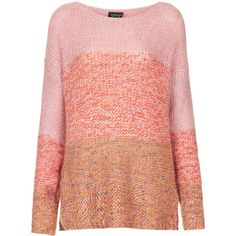 TOPSHOP Knitted Ombre Stitch Jumper ($21) ❤ liked on Polyvore featuring tops, sweaters, topshop, jumper, multi, slouch sweater, ombre sweater, jumpers sweaters and jumper top