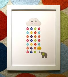love the easy to read abc's and the elephant!- ABC Rain Cloud poster, Kids art print, Alphabet Poster. $20.00, via Etsy.