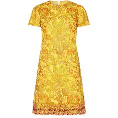 Preowned 1960s Yellow And Gold Floral Brocade Dress ($475) ❤ liked on Polyvore featuring dresses, vintage, yellow, gold cocktail dress, yellow shift dress, gold beaded dress, metallic gold dress and vintage beaded dress