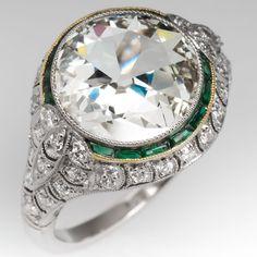 Old European Cut Diamond Ring Platinum Filigree #jewelrylove