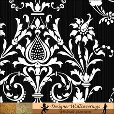 black and white damask wallpaper on 1 wall and 3 red painted walls....my beer cap table would look awesome!