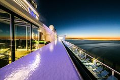Sunset from an Anthem of the Seas suite | Travel with more room, comfort and luxury–suites are a great way to travel in style and give your family more space.