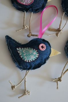 Baby Blue Jean Birdies ornaments by InvisibleRedThread Items similar to Baby Clothes Ornaments~Upcycled Blue Jean Birdies - decorations, keepsakes out of baby clothes on Etsy I'm going to make this with my brothers clothes. Bird made using old jeans I NE Baby Ornaments, Ornament Crafts, Christmas Ornaments, Blue Christmas, Xmas, Jean Crafts, Denim Crafts, Artisanats Denim, Sewing Crafts