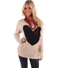 Lime Lush Boutique - Taupe Knit Heart Sweater, $36.99 (http://www.limelush.com/taupe-knit-heart-sweater/)