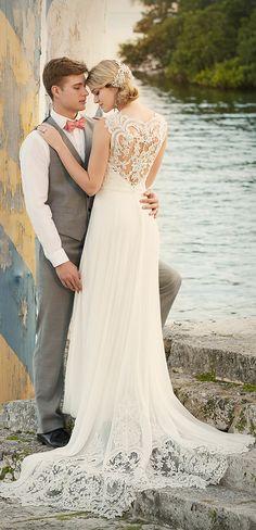 vintage chiffon and lace wedding dresses with beautiful back details #dresses #wedding #weddingideas #bridaldresses #weddinggowns
