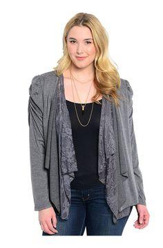 Lace Open Drape Plus Size Cardigan