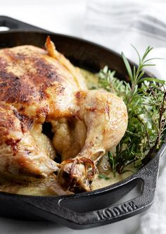 Milk Braised Whole Chicken with Mustard and Herbs