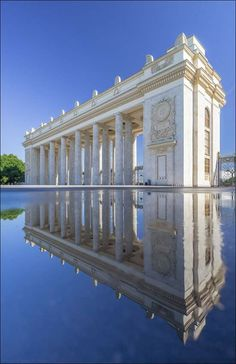 """Reflection of Gorky Park Main Entrance - Moscow   Russia """"The main entrance to the park erected in 1955 by architect George (Yuri) Vladimirovich Schuko."""" Photographer : Yuri Degtyarev https://www.flickr.com/photos/38465352@N03/"""