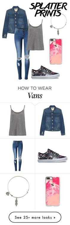 """Subtle splatter"" by swettypie on Polyvore featuring L'Agence, Casetify, WithChic, Current/Elliott, Vans and Alex and Ani"