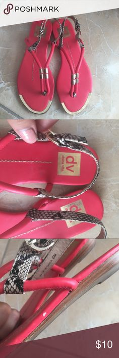 Dolce Vita Pink/coral Snake Print Sandals Dolce vita sandals worn 1-2 times. Has a defect on one side of shoe as pictured. Gold detail in front has some scratch marks as well. FINAL PRICE. Dolce Vita Shoes Sandals