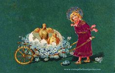 A 1907 postcard that shows an illustration of a little girl in a pink dress and blue bonnet pushing a wagon made of forget-me-nots with a newly hatched egg and two yellow chicks. I've posted this to the Children's Page at Vintage Field & Garden where Great picture! Kuddos