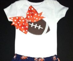 Girl's Football shirt with bow by CutiePDesigns on Etsy, $15.00