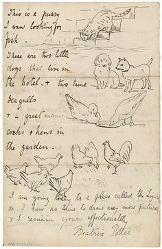 An original Letter by Beatrix Potter A poem about animals