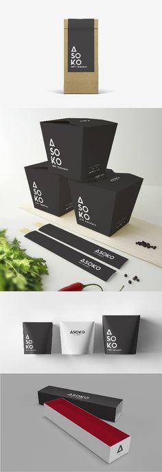 Sushi&Japanese Restaurant Branding//Packaging Identidad//Packaging para restaurante japonés y de sushi  https://www.behance.net/gallery/49510161/ASOKO-Restaurante-japons