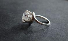 Handmade Diamond Engagement Ring Size 5 Rough Natural Uncut Wedding Band Raw Gemstone 6 Carat Diamond Sterling Circular