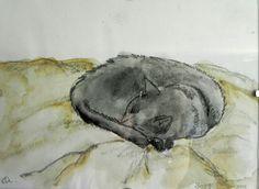 Black cat watercolour sketch by Rebecca Gardiner