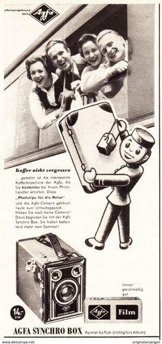 Werbung - Original-Werbung/ Anzeige 1955 - AGFA SYNCHRO BOX KAMERA - ca. 115 x 240 mm