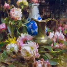 """""""BRASS & PEONIES"""" OIL 18"""" X 18"""" ©DANIEL J. KEYS 2017 ©This image is under strict copyright to the artist and may not be reproduced in any form"""