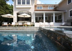Wow, stunning!  Beautiful backyard with pool & spa, covered porch/deck area (Traditional Restored Shingle Home, home bunch.com)