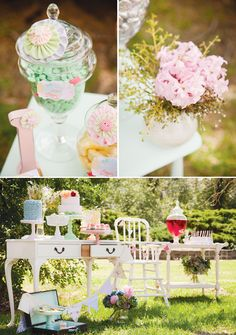 Vintage Summer Garden Party: Apocrathy jars filled with candy (I'd keep the shades lighter vs primary tones) + pretty little pieces of furniture for table spread.  www.facebook.com/LFFdesigns