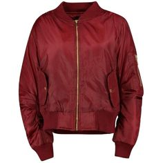 Boohoo Khloe MA1 Bomber Jacket (175 DKK) via Polyvore featuring outerwear, jackets, bomber jacket, longline bomber jacket, layered jacket, red duster coat, puffy bomber jacket and longline jacket