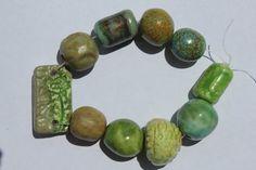 Handmade Ceramic Beads Set of 10 Various by BlackHairySpiderArts
