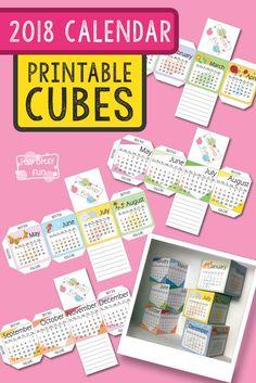 Free Printable 2018 Calendar Paper Cubes