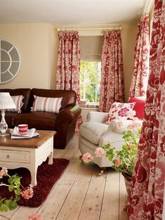 Red Decor for Living Room . 35 New Red Decor for Living Room . Beige Living Rooms, Living Room Red, Cottage Living, Living Room Decor, Red Cottage, Red Curtains Living Room, Cottage Style, Kitchen Curtains, Cozy Living