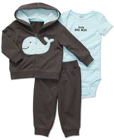 Carter's Baby Set, Baby Boys 3 Piece Hooded Cardigan and Pants Set - Kids Baby Boy (0-24 months) - Macy's