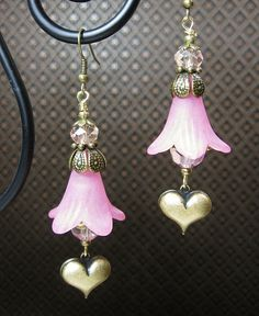 PINK / ANTIQUE BRASS Lucite Floral Heart by CayaCowgirlCreations, $22.00