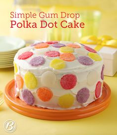 Skip the store-bought birthday cake and whip up this colorful, festive cake up at home! Rolled-out gumdrops make decorating a snap.