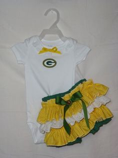 NFL Green Bay Packers Ruffled Bloomers Onsie Outfit by SedonaStyle, $32.00