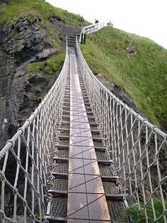 Carrick-a-rede rope bridge, located in  Ballintoy, Antrim County, North Ireland