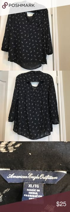 Top Black with white leaf design. American Eagle Outfitters Tops Blouses