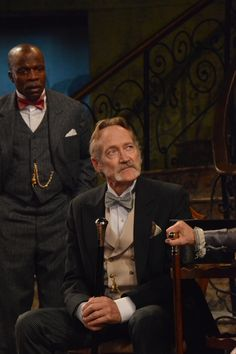 L. Peter Callender and James Carpenter at the Pygmalion dress rehearsal. Photo by Jay Yamada.