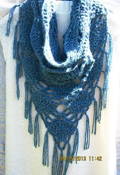 Crochet Triangle Infinity Cowl Scarf with fringe by LiveOakCrochet, $32.99
