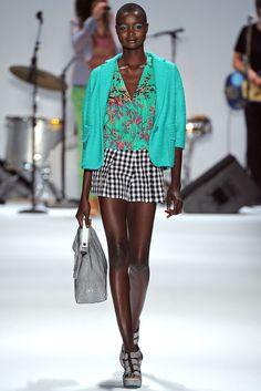 green floral print shirt black white check shorts - nanette lepore - spring 2013 rtw #nyfw