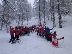 Marco skiing pow with the sauze sportinia kids