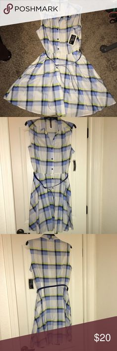 "New  plaid dress- Cute! New wt tags. Beautiful plaid button down dress by Julian Taylor . Cotton material, 38 1/2"" long. Has a blue belt.  Tag says sz  14 but it fits a 12. I bought it as a sz 12 but couldnt wear it bc i lost weight. Julian Taylor new york Dresses Midi"