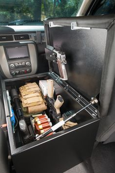 The Console Bunker and car safes is an all steel center console for firearm storage in your car or truck. Call today to get your new gun safe! Tactical Truck, Tactical Equipment, Tactical Gear, Survival Equipment, Hidden Gun Storage, Weapon Storage, Ammo Storage, Truck Storage, Bunker