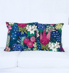 Floral cushions made from a vintage fabric. Recycled. Sustainable. Scandinavian design. Decorative pillowcases. Handmade in Finland. By Johanna Sandberg.
