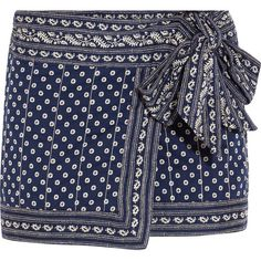 Étoile Isabel Marant Lyne wrap-effect printed cotton mini skirt (€170) ❤ liked on Polyvore featuring skirts en mini skirts