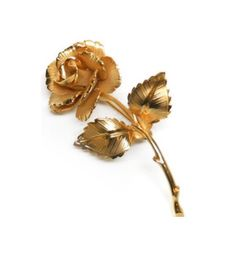 Vintage Gold Tone Arched Long Stem Blooming Rose Brooch Pin Featuring Textured Design Finish With Thorn Accents by ClevelandFinds on Etsy