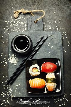 Sushi set by Natalia Klenova on Sushi Co, My Sushi, Japanese Food, Asian Recipes, Food Inspiration, Food Photography, Food Porn, Food And Drink, Thing 1