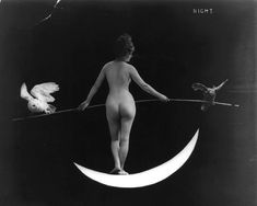 Nude Woman Standing on Crescent Moon Balancing by EclecticForest