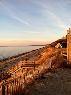A gorgeous view from Great Hollow Beach in North Truro looking towards Provincetown at sunset. Cape Cod