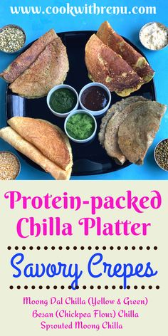 Protein-packed Chilla Platter had different types of vegan savory crepes from the North of Indian which can be served for breakfast or snack. #Vegetarian #crepes #chilla #cheela #savory #pancakes #recipes #vegan #glutenfree #delicious #healthy #breakfast #lunch #meals #kidsfood #toddlerfood #lunchbox #travelfood #picnicfood #platter #partyfood #partyideas Dairy Free Recipes, Vegan Recipes Easy, Vegetarian Recipes, North Indian Recipes, Indian Food Recipes, Deep Fried Recipes, Lunch Meals, Savory Pancakes, Recipe Filing