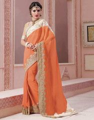 Orange Color Georgette Designer Wedding Functions Sarees : Amshir Collection  YF-40160